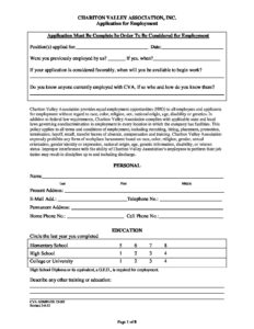 CVA Application for Employment